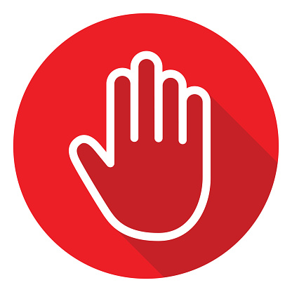 Vector illustration of a white outlined hand on a red circle.