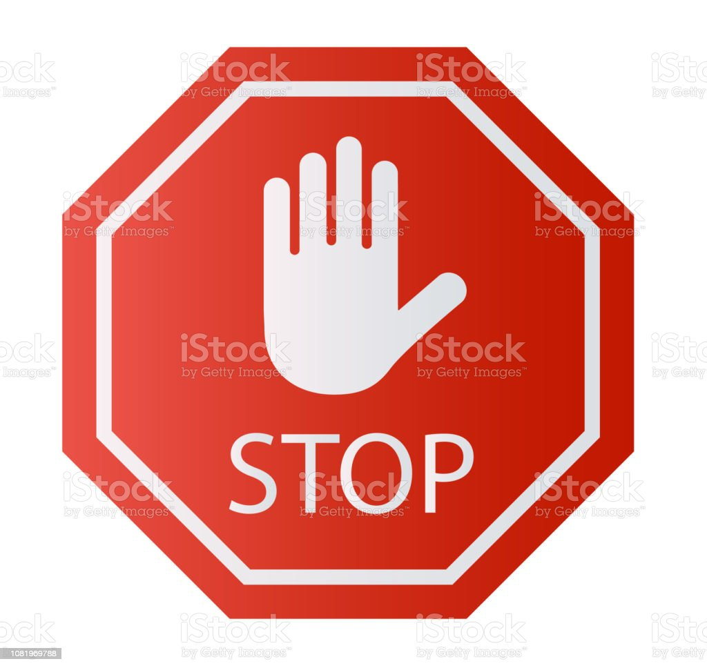 Royalty Free Drawing Of Octagon Stop Sign Clip Art Vector Images
