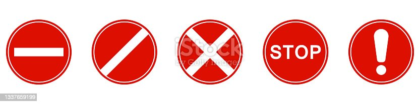 istock Red STOP sign isolated. Set red stop sign icon, do not enter. Stop warning sign. - Stock Vector EPS 10 1337659199