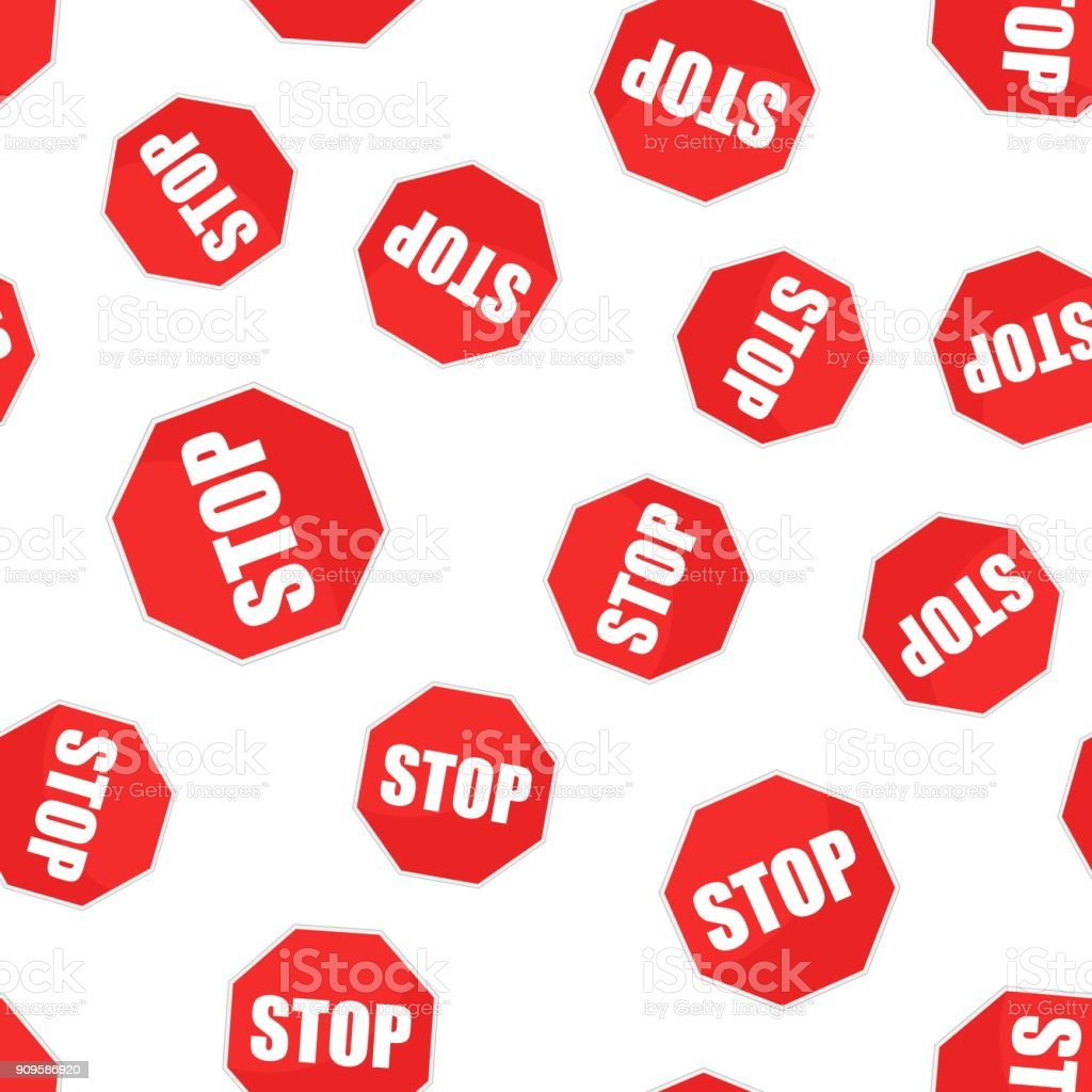 Red Stop Sign Seamless Pattern Background Business Flat Vector