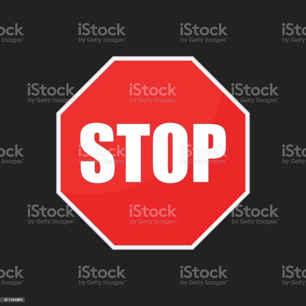 Red stop sign vector icon. Danger symbol vector illustration. vector art illustration