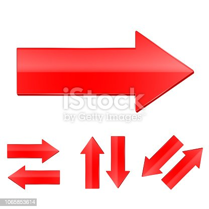 Red straight arrows set. Vector illustration isolated on white background