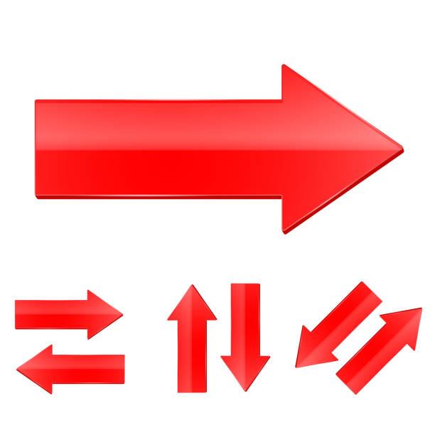 紅色直箭頭設置向量藝術插圖