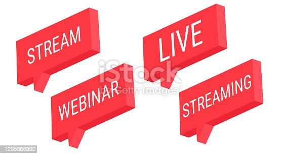 istock Red stream webinar live streaming. Isometric 3d vector button. Internet symbol online broadcasting icon on a white background. 1295666992