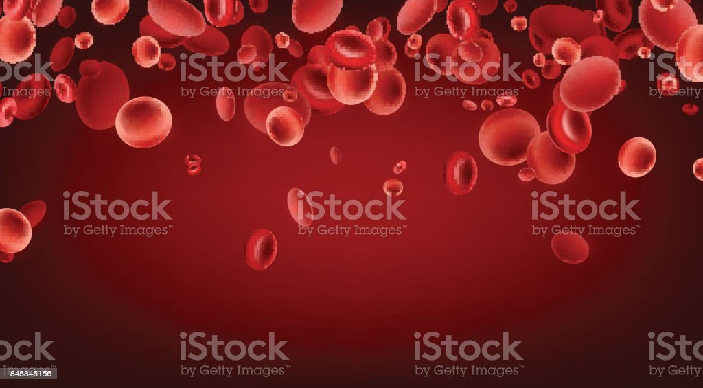 Red streaming blood cells background. vector art illustration