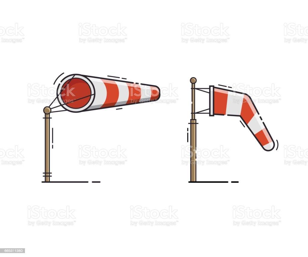 Ilustração em vetor Windsock listra vermelha - ilustração de arte em vetor