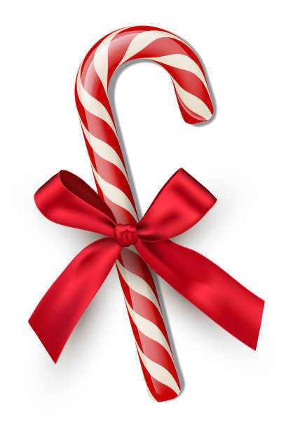 Red striped candy cane with red bow isolated on white background. Vector Christmas and New Year design element. Red striped candy cane with red bow isolated on white background. Vector Christmas and New Year design element december illustrations stock illustrations