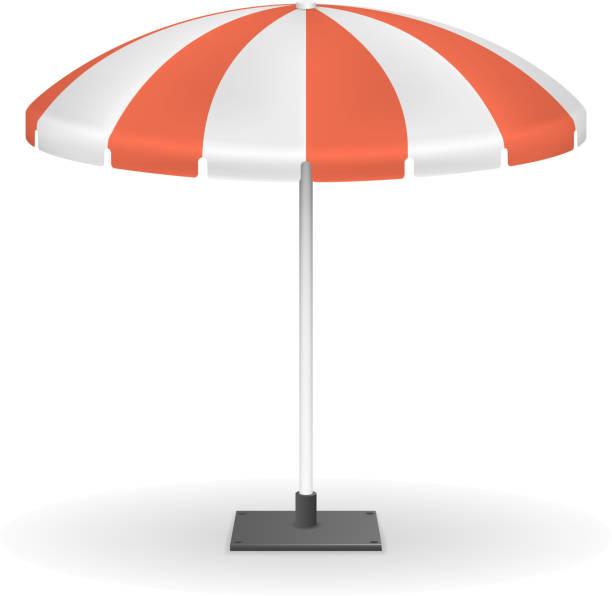 illustrazioni stock, clip art, cartoni animati e icone di tendenza di red striped market umbrella for outdoor event vector illustration - mockup outdoor rain
