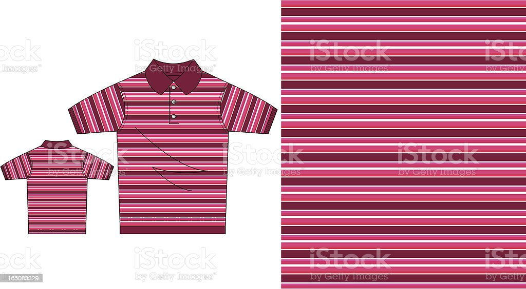 Red Striped Short Sleeved Polo Pique Shirt royalty-free red striped short sleeved polo pique shirt stock vector art & more images of adult