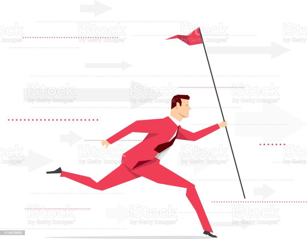 Red suit businessman running vector art illustration