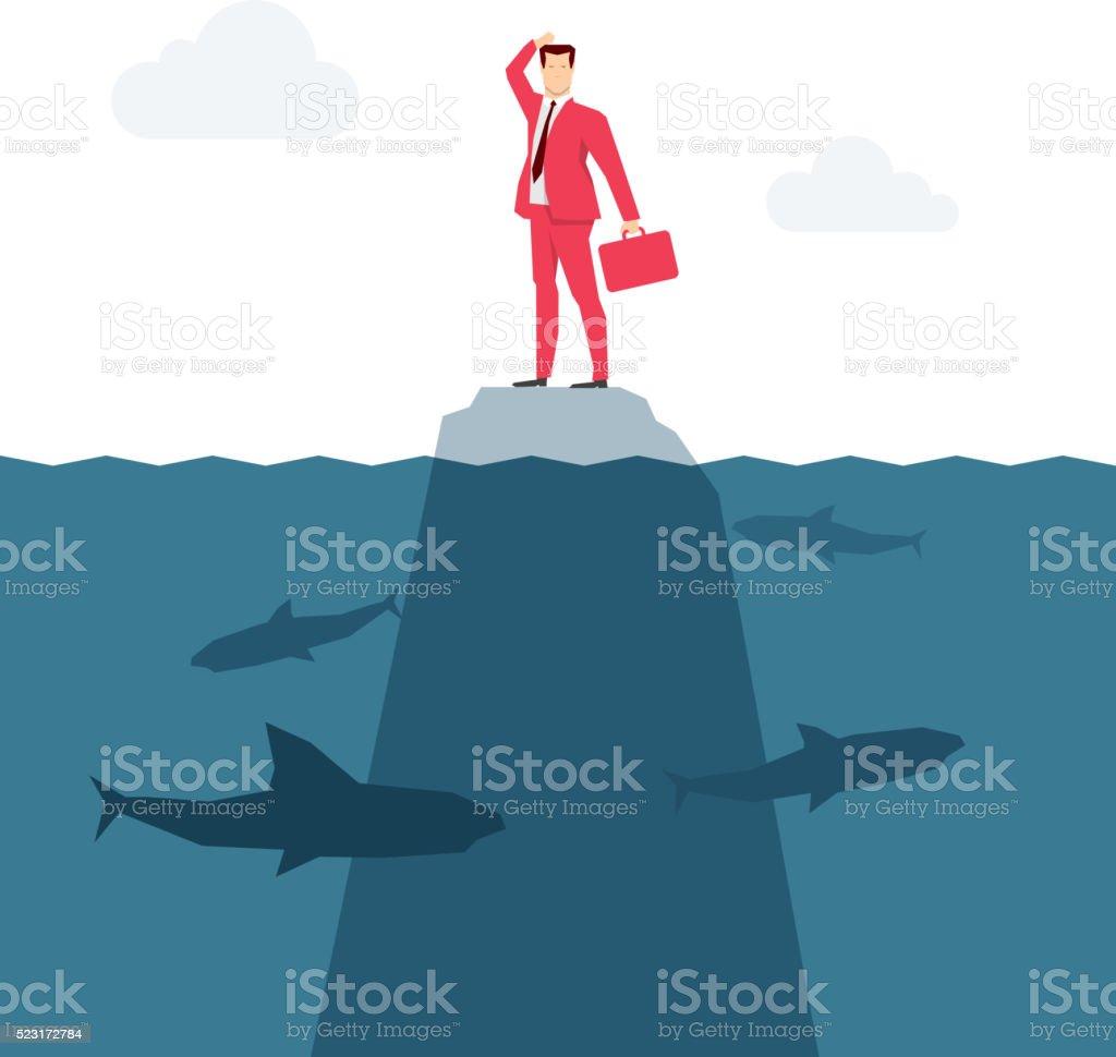 Red suit businessman vector art illustration