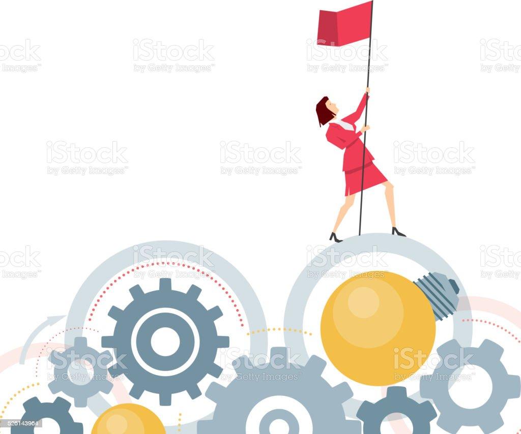 Red suit businesswoman vector art illustration