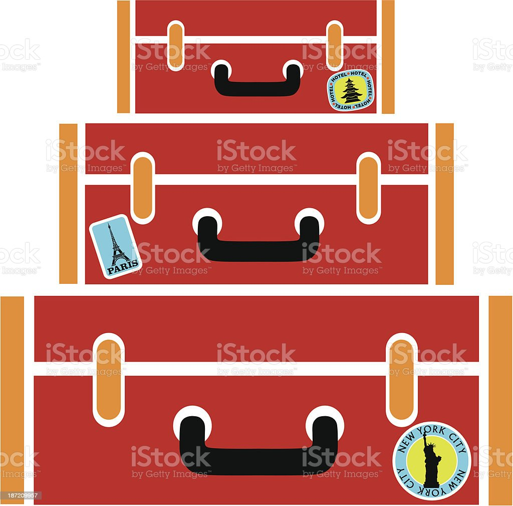 red suitcases royalty-free stock vector art