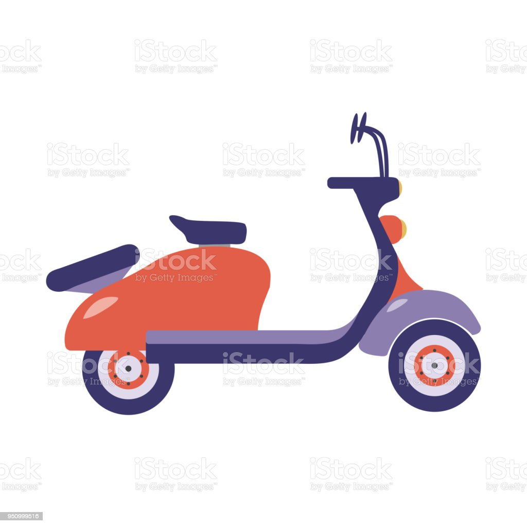 Red Summer Scooter Icon vector art illustration