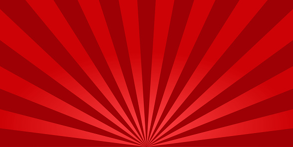 Red sunburst background. Retro background with sun beam. Comic rays. Red bright sunbeams. Light texture backdrop for japanese style. Summer pattern with shiny flare for poster and banner. Vector.