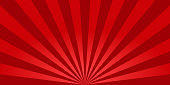 istock Red sunburst background. Retro background with sun beam. Comic rays. Red bright sunbeams. Light texture backdrop for japanese style. Summer pattern with shiny flare for poster and banner. Vector 1218542425