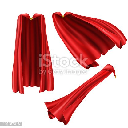 Red superhero cape, cloak with golden pin front and side view. Fluttering on wind rippled silk clothes for king, ullusionist or vampire costume. Set of realistic mantle isolated on white background