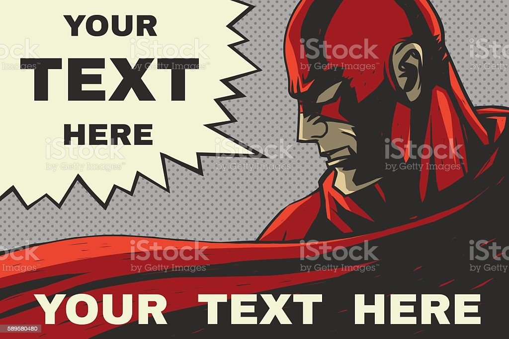 Red superhero with speech bubble vector art illustration