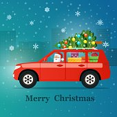 Red SUV with santa claus, christmas tree and gift boxes. Vector flat style illustration