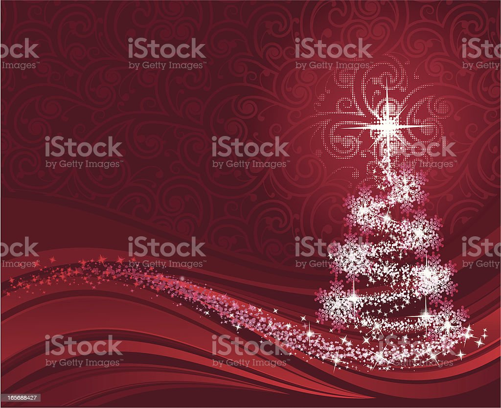Red swirly Christmas background vector art illustration