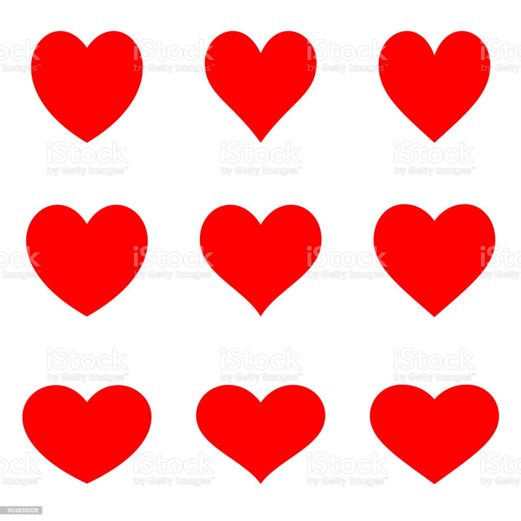 Red symetric hearts - Flat icon set vector art illustration