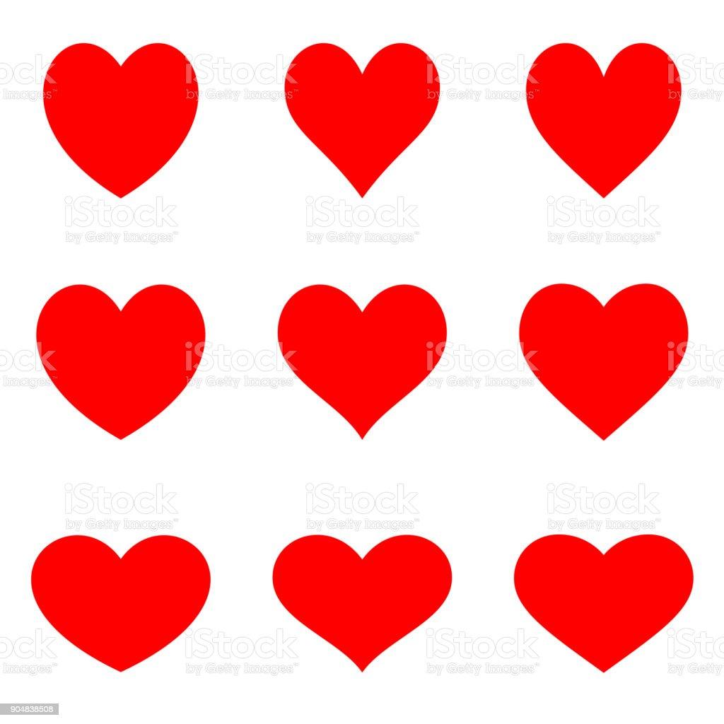 Corações vermelho symetric - conjunto de ícones plana - ilustração de arte em vetor