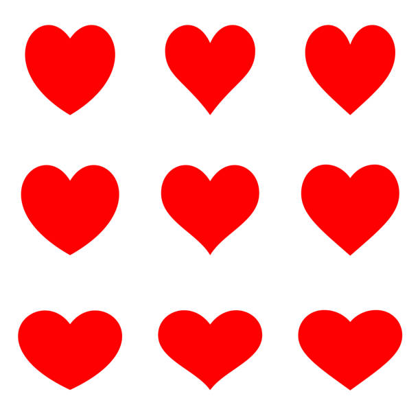 stockillustraties, clipart, cartoons en iconen met rode symmetrische hearts - flat pictogramserie - heart
