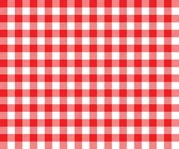 ilustraciones, imágenes clip art, dibujos animados e iconos de stock de tabla fondo de tela roja patrón sin costuras - picnic