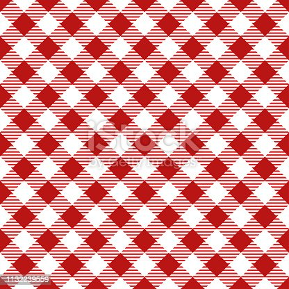 Red tablecloth argyle seamless diagonal pattern background.