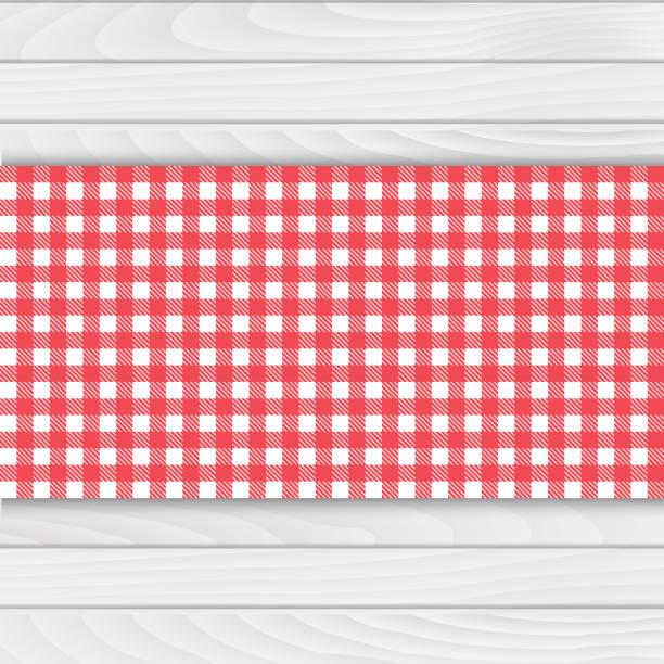 stockillustraties, clipart, cartoons en iconen met rood tafelkleed op witte houten tafel. vector. - tafel restaurant top