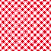 Red and white tablecloth seamless diagonal pattern.