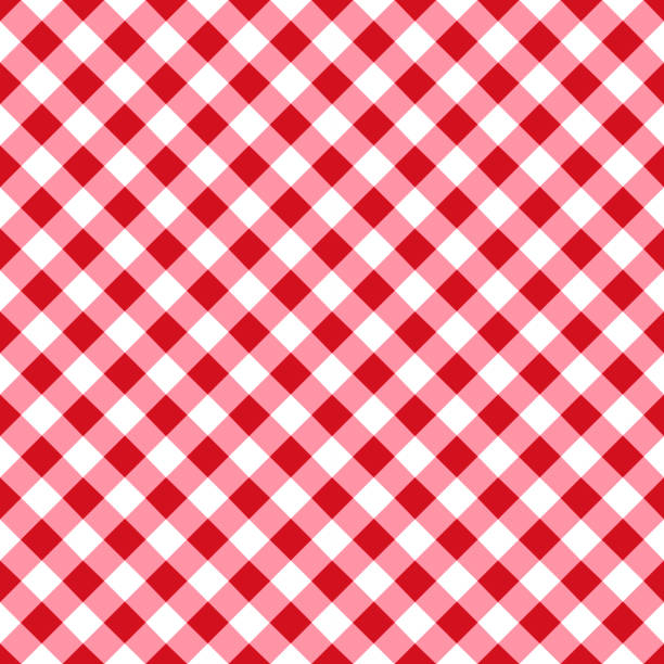 red tablecloth pattern - checked pattern stock illustrations
