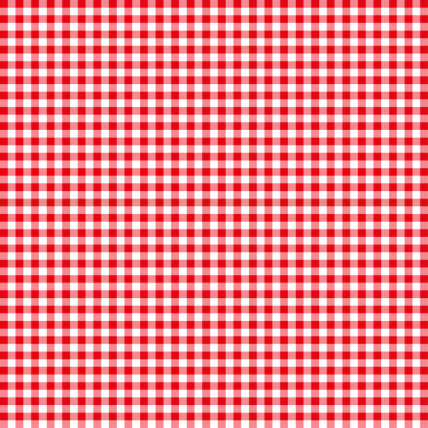 red tablecloths patterns on the background - checked pattern stock illustrations