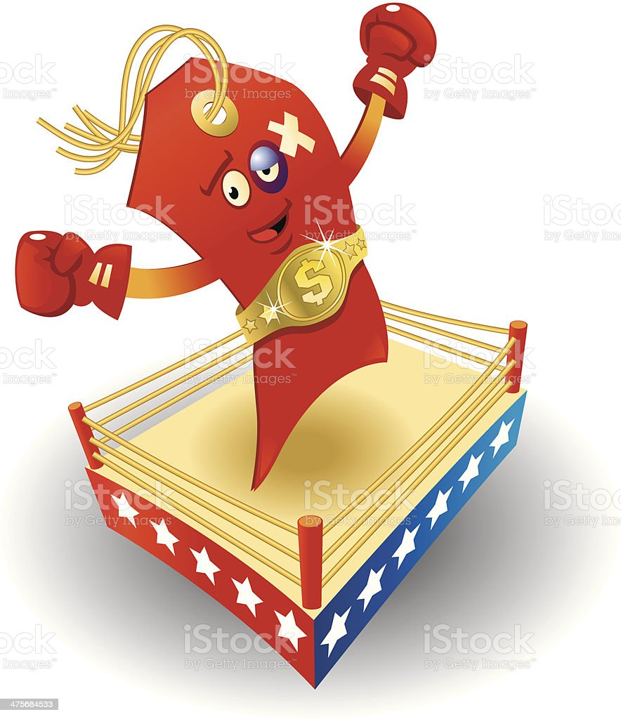 Red Tag Boxer C vector art illustration
