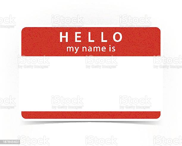 Red Tag Hello My Name Is Sticker Label Shadow Stock Illustration - Download Image Now