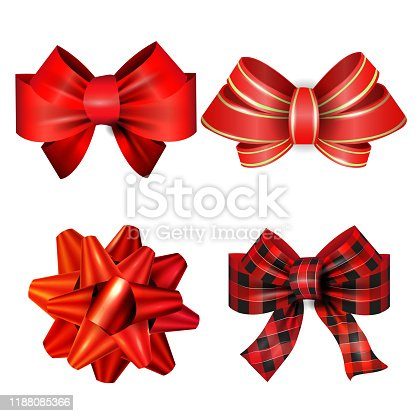 Big set of red gift bows with ribbons. Vector illustration.Big set of red gift bows with ribbons. Vector illustration.Red Tartan plaid bow could be used for Christmas decorations vector