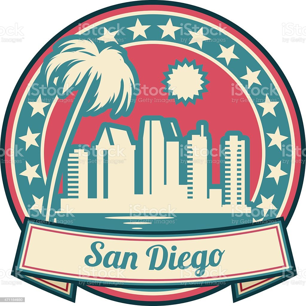Red, teal, and tan San Diego icon on white background vector art illustration