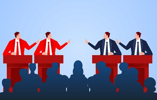 Red team and blue team debate games, meetings and debates