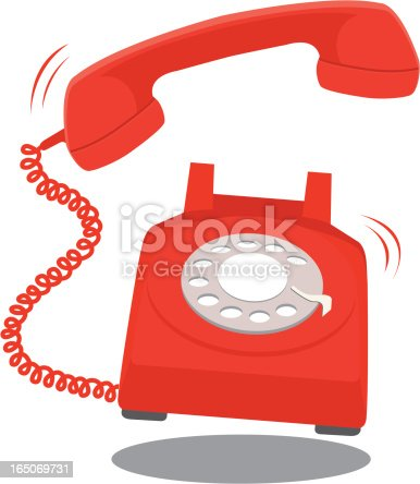 Vector illustration of red telephone ringing.