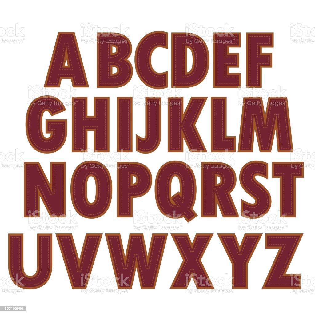 Red Textile Alphabet vector art illustration