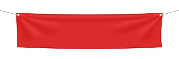 red textile banner with folds - wisieć stock illustrations