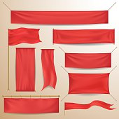 Red textile banners and flags in vector