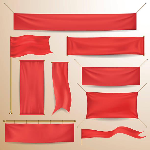 czerwone tkaniny banery i płytek - transparent stock illustrations