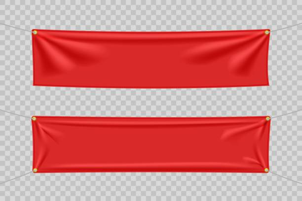 red textile banners with folds set - wisieć stock illustrations