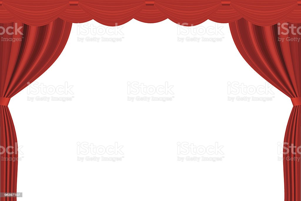 A red theater curtain on a white background vector art illustration