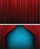 Red theater curtains opened and closed