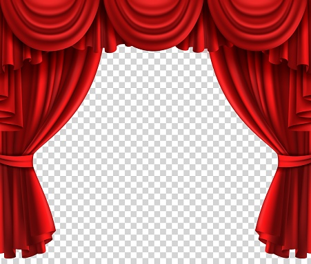 Red theatre curtain. Realistic scene portiere on transparent background, cinema or circus drape luxury silk or velvet opened stage vector realistic fabric drapes