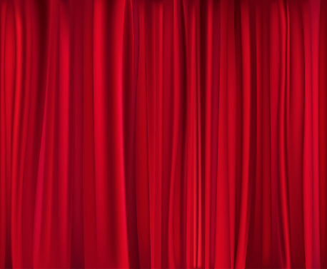 Red theatre curtain which has been closed