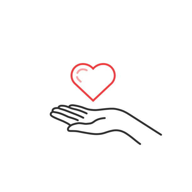 czerwona cienka linia serca na ręce kobiety - ręka człowieka stock illustrations