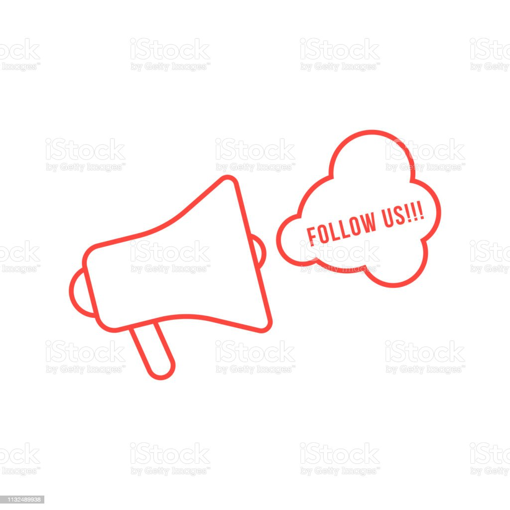 red thin line megaphone like display advertising. concept of follow...